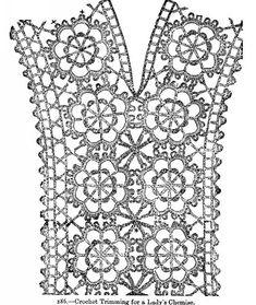 Crochet Trimming for a Lady's Chemise. Crochet Trimming for a Lady's Chemise. Col Crochet, Crochet Lace Collar, Gilet Crochet, Crochet Lace Edging, Crochet Lace Dress, Crochet Motifs, Crochet Cardigan Pattern, Crochet Diagram, Crochet Doilies