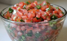 FRESH SALSA!  Easy, healthy, just four ingredients, and scrumptious!  Serve with tortilla chips but also great as a topping on any mexican dish or as a condiment on grilled steak or grilled chicken breasts.  Step-by-step tutorial with pictures.