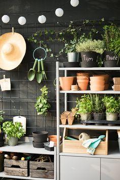 Verleng je keuken naar het balkon | IKEA IKEAnl IKEAnederland urban tuin planten plant groen duurzaam kweken stad lente zomer kruidentuin inspiratie BARSÖ klimplantrek potten plantenbak HINDÖ kast