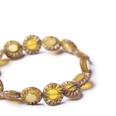 Yellow flat coin flower picasso beads, 14 mm