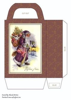 Joyous Noel Large Gift Bag on Craftsuprint designed by Rhonda Brittain - This christmas gift bag is easy to put together. Print twice on good quality card, cut out, fold and glue together. - Now available for download!