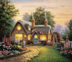 European Scenery series DIY Diamond Painting Rhinestones Mosaic Embroidery Full Whole Resin Drill Square Cross Stitch Crafts Thomas Kinkade, Cottage Kits, Storybook Cottage, Garden Cottage, Rose Cottage, Belle Image Nature, Kinkade Paintings, Diamond Wall, Diamond Cross