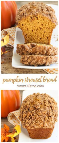 Diet Recipes This soft and delicious Pumpkin Streusel Bread recipe is filled with the flavors and fall! - This soft and delicious Pumpkin Streusel Bread recipe is filled with the flavors of fall! Mini Desserts, Fall Desserts, Delicious Desserts, Dessert Recipes, Yummy Food, Thanksgiving Desserts, Thanksgiving Ideas, Fruit Recipes, Pumpkin Recipes