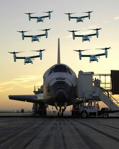 A group of MV-22 Osprey aircrafts fly over space shuttle after a successful shuttle mission. (Composite Pictures, the event depicted in this picture and caption did NOT really happen in the way as shown.)