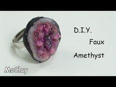 DIY faux amethyst geode ring - Polymer clay tutorial - YouTube