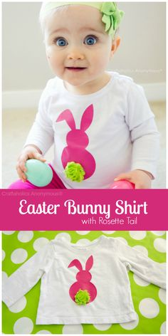 easter bunny shirt with rosette flower for a tail made using your Silhouette Portrait -  Adorable!! Another way to use those shabby rosettes.
