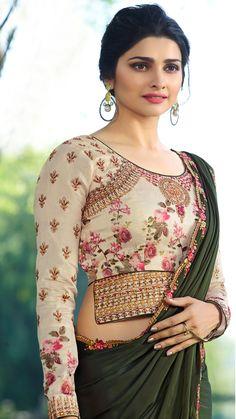 Prachi Desai Olive Green Satin Silk Plain Saree With Designer Blouse Saree Blouse Neck Designs, Choli Designs, Fancy Blouse Designs, Bridal Blouse Designs, Stylish Blouse Design, Designer Blouse Patterns, Stylish Sarees, Satin, Prachi Desai