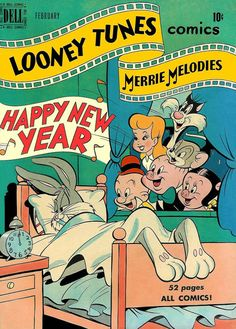 Cover for Looney Tunes and Merrie Melodies Comics (Dell, 1941 series) Vintage Disney Posters, Vintage Comic Books, Vintage Cartoon, Vintage Comics, Cartoon Posters, Retro Cartoons, Old Cartoons, Bedroom Wall Collage, Photo Wall Collage