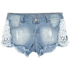 Denim Shorts w/ Scalloped Hem And Crochet Inset Jr. (333.795 VND) ❤ liked on Polyvore featuring shorts, bottoms, short, destroyed jean shorts, ripped jean shorts, jean shorts, short jean shorts and distressed shorts