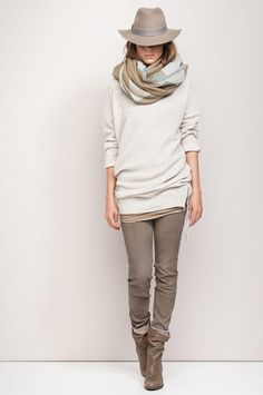 Warm Taupe goes hand in hand with a bone white sweater!