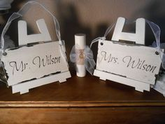Personalized Wedding Chair signs  Cottage, Chippy, Distressed