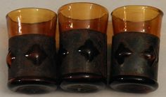 Three Antique Medieval Style Blown Amber Bubble Shot Glasses Metal Wrap $20.00 OBO + $7.50 Shipping