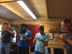 Mark Baker UKjatinder Singh New Zealand Pieter Bogaerts Belgium  and Stoyko stoitsev Bulgaria  Collecting Drone Semen practicing the First and Second Eversion on there first day of the Instrumental Insemination Course.
