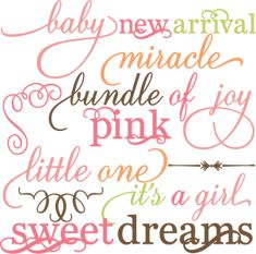 Baby Girl Words Set SVG file for scrapbooking crafts baby svg files baby svg cut files for cutting machines