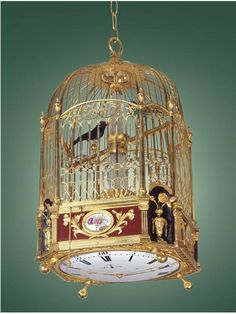 Gilt brass and enamel, two singing bird hanging cage with a center-seconds clock beneath, 12-stream fountain, playing four tunes on demand or changing automatically on the hour. Attributed to Jaquet-Droz, Geneva, circa 1780. Timekeeper with 5 Complications, Attributed to Jaquet-Droz, Geneva, circa 1780.