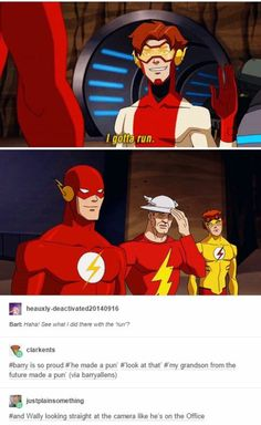 Barry (flash) seams proud Jay (tin hat) is probably think why have you done.Wally (kid flash) is just so disappointed in Barry I would be too we don't need another speedster with the same bad running pun Kid Flash, I Am Batman, Funny Batman, Batman Stuff, Rasengan Vs Chidori, Dc Memes, Detective Comics, The Villain, Marvel Dc Comics