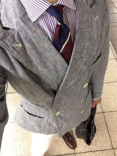 Double breasted Jacket : RRL Purple striped shirt : POLO RL Tie : forgotten (Italy) White 5pk jean : POLI RL Tassel Loafer : Loake Leather Tote : Aniary