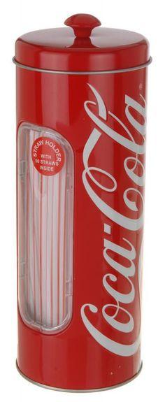 Red Coca Cola Design Party Picnic Straw Holder Tin Case Dispenser with 50 Straws