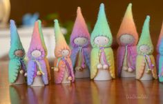 Felt Rainbow gnome set by DebsSteinerDolls Peg by DebsSteinerDolls