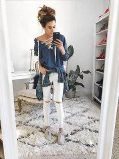 HelloFashionBlog: White Distressed Denim & Lace Up Top