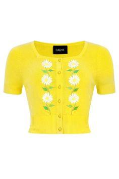 Collectif 50s Flora Summer Daisy Cardigan Yellow