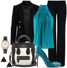combination of clothes fashion accessorize clothes blue shirt black coat pants http://www.womans-heaven.com/black-jacket-with-blue-shirt-and-accessories-combination/