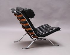 Chromed Steel and Leather 'Ari' Lounge Chair, – Interior Design Addict Metal Furniture, Furniture Plans, Furniture Makeover, Vintage Furniture, Cool Furniture, Modern Furniture, Furniture Design, Furniture Market, Furniture Dolly