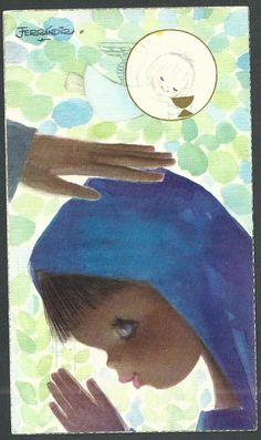 Estampa antigua de Ferrandiz andachtsbild santino holy card santini   eBay Vintage Christmas Cards, Vintage Cards, Vintage Images, Communion, Roman Catholic, Art Prints, Illustration, Anime, Painting