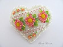 embellished white heart pin