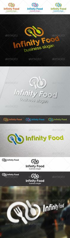Infinite Food Logo Template – Simple, unique and elegant cuisine logo emblem – An excellent logo template highly suitable for food and catering businesses. Simple and elegant restaurant logotype. Illustration for cooking business, fast food, restaurant, cookware shops, cuisine stores, etc Unique logo template in horizontal and vertical versions in different color variations for your cafe, restaurant, recipe, food etc.