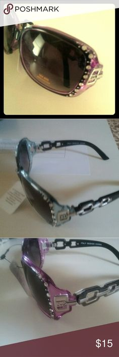 Women sunglasses Women sunglasses, rectangaler frame with beads, black lensese, black, purple, white frame, fashion, elegant. fashion eyewear Accessories Sunglasses