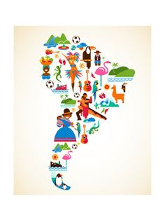 South America love - concept illustration with vector icons by Marish, via ShutterStock Love Posters, Travel Posters, Poster Prints, Art Prints, Illustration, Thinking Day, South America Travel, Map Art, World Cultures