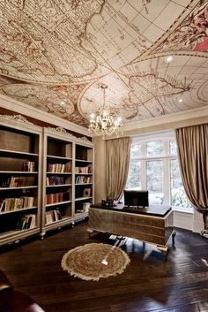 Home office goals...fitting for my Global Home Based Business with a world map on the ceiling! www.LeahDouglas.com