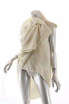 RICK OWENS Celadon 100% Silk Taffeta Hidden Zip Blouse/Vest/Tunic NWT $2515 US8 #RickOwens #Vest #Versatile
