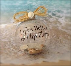 Life's better in flip flops ornament Beach Christmas Ornaments, Nautical Christmas, Christmas Balls, Christmas Holidays, Christmas Decorations, Fish Ornaments, Shell Ornaments, Xmas Tree, Sea Crafts