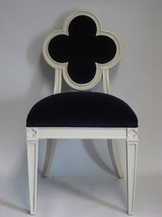 Clover Leaf Royal Blue Velvet Chair Approx. 30 lbs. Finish: Antique Ivory Fabric: Ravenna Velvet COM available-2 yards, other finish options available To View Other Clover Leaf Back Chairs Currently in Stock Click