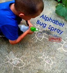 Toddler Approved!: Alphabet Bug Spray LOVE LOVE LOVE, morning activity Give each kiddo a letter and bug spray and got for it. Or a relay. Toes on a line, first one gets A runs back second gets B etc