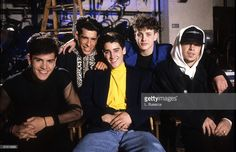 Singers Jordan Knight, Danny Wood, Jonathan Knight, Joey McIntyre and Donnie Wahlberg, of New Kids On The Block pose during a circa 1989 interview.