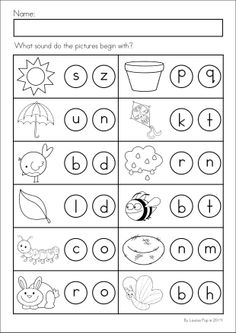 Kindergarten SPRING Math & Literacy unit. 93 pages in total. A page from the unit: Beginning sounds