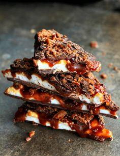 Whiskey Caramel Marshmallow Bacon Bark