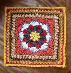"""chitweed's Tussy-Mussy 12"""" crochet square. Free pattern, well written and designed by Rebecca Bisbing."""