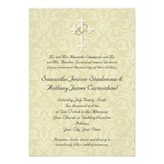 Christian Wedding Invitations Golden Rings Cross Gold Stationery Damask