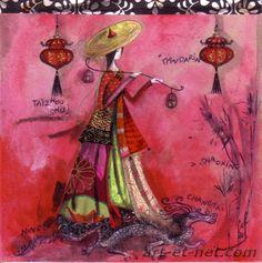 ARTBURGAC: Catherine Rebeyre Art Carte, Magic Women, Decoupage, Street Art, Sculpture, Artist, Painting, Inspiration, Image