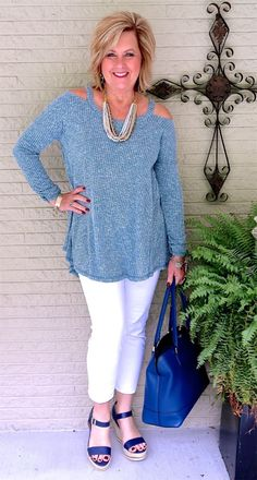 50 IS NOT OLD | COLD SHOULDER SWEATER |Fall transition outfit | White after Labor Day | Fashion over 40 for the everyday woman