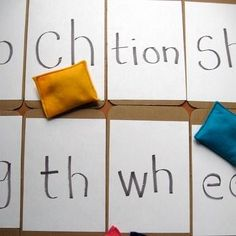"Beanbag Digraph and Blend Toss- Such a fun game to practice these sounds!  In first grade, your child will need to be adept at recognizing lots of letter blends, such as ""ch"" or ""sh."" Practice, practice, practice!"