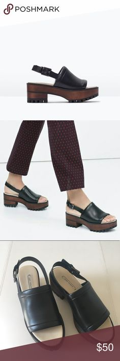 Zara Woman Leather Wooden Platform Sandal Awesome shoes!! Barely worn. Show little to no signs of wear. Zara Shoes Platforms