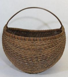 Large Antique c1900 New England Country Primitive Splint Buttocks Basket