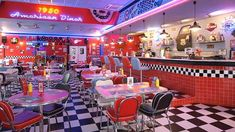 American diners are great aren't they? I've only ever been in one but the aesthetic is pleasing. American Diner Kitchen, 1950 American Diner, American Dinner, Diner Restaurant, Restaurant Photos, American Restaurant, Restaurant Design, 1950s Diner, Vintage Diner