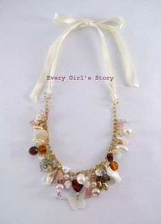 Vintage Beaded Ribbon Necklace by Everygirlsstory on Etsy