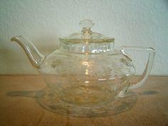 Rare Vintage Etched Cut Corning Pyrex Glass Tea Pot circa 1920's